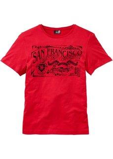 Прямая футболка с принтом (красный) Bonprix
