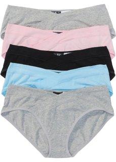 Трусики (5 шт.) (светло-серый меланж/розовый/синий/черный) Bonprix