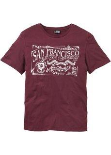 Прямая футболка с принтом (бордовый) Bonprix