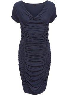 Платье с драпировками (темно-синий) Bonprix