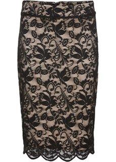 Кружевная юбка-карандаш (черный/телесный) Bonprix