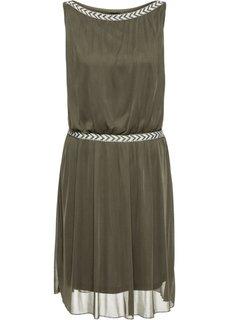 Трикотажное платье (темно-оливковый) Bonprix