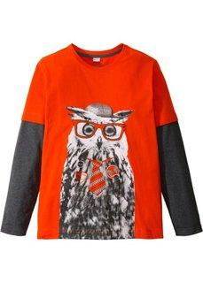 Двухслойная футболка с забавным принтом (кроваво-оранжевый/антрацитовый меланж с рисунком) Bonprix