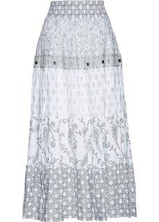 Ярусная юбка с принтом (серебристо-серый/белый с рисунком) Bonprix