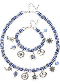 Комплект в традиционном стиле Октоберфеста: цепочка + браслет (2 изд.) (серебристый/синий) Bonprix