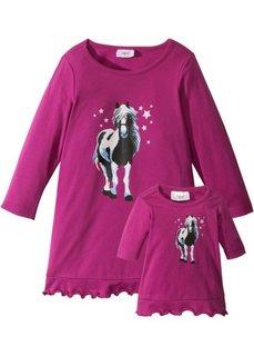 Ночная рубашка + ночная рубашка для куклы (2 изд.) (нежная фуксия) Bonprix