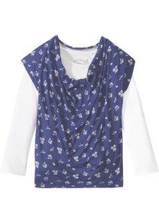 Двухслойная футболка с воротником-хомут (кремовый/сапфирно-синий в цветочек) Bonprix