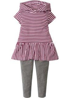Платье с капюшоном + легинсы (2 изд.) (ягодный в полоску/серый меланж) Bonprix