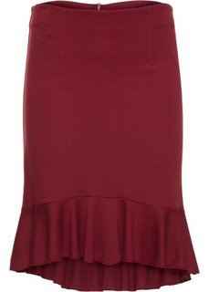 Трикотажная юбка с воланом (красный каштан) Bonprix