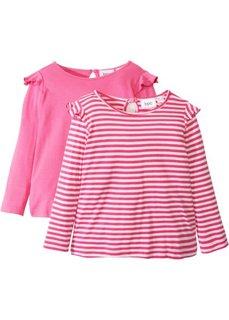 Длинная футболка с рюшами (2 шт.) (ярко-розовый/белый в полоску + ярко-розовый) Bonprix