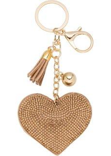 Сердечко − подвеска для сумки (золотистый) Bonprix