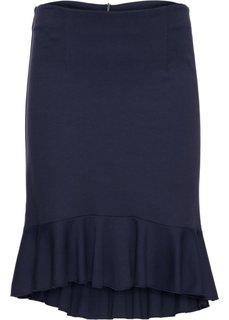 Трикотажная юбка с воланом (темно-синий) Bonprix