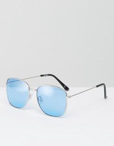 Квадратные солнцезащитные очки в стиле 90-х с синими стеклами ASOS - Серебряный
