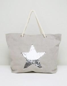Серая пляжная сумка с серебристой звездой South Beach - Серый