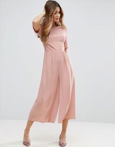 Комбинезон с присборенными рукавами ASOS - Розовый