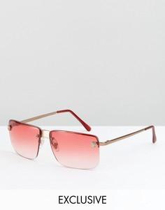 Солнцезащитные очки-авиаторы с розовыми стеклами Reclaimed Vintage Inspired - Розовый