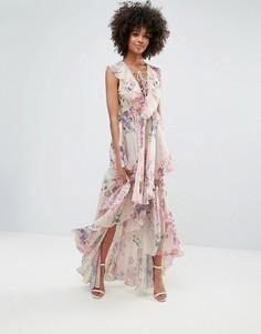 Платье макси с оборками, цветочным принтом и шнуровкой Y.A.S - Мульти