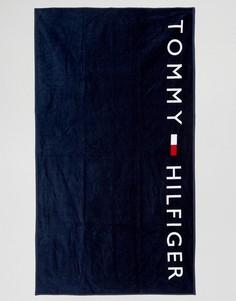 Темно-синее полотенце с логотипом Tommy Hilfiger - Темно-синий