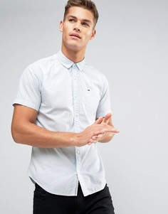 Голубая рубашка классического кроя с короткими рукавами и логотипом на кармане Tommy Hilfiger Denim - Синий