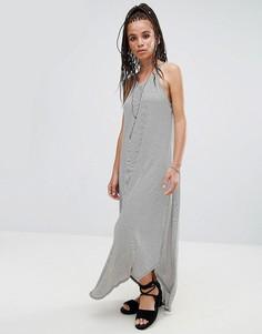 Трикотажное платье макси в полоску NYTT - Серый