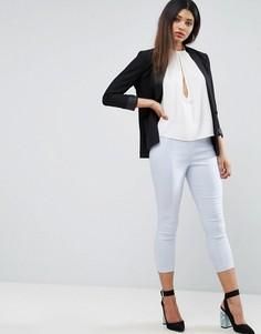 Укороченные зауженные брюки с завышенной талией ASOS - Синий
