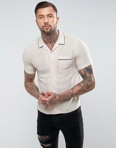 Белая рубашка классического кроя из вискозы и льна с отложным воротником ASOS - Белый