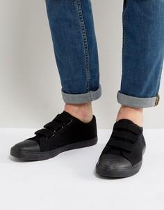 Черные кеды на липучке с отделкой на носке ASOS - Черный