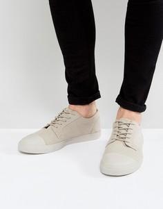 Бежевые парусиновые кеды на шнуровке с отделкой на носке ASOS - Светло-серый