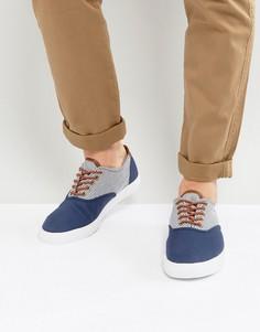 Кеды на шнуровке с синими и белыми полосками ASOS - Темно-синий