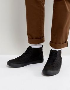 Черные кеды на шнуровке с черной подошвой ASOS - Черный