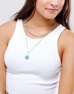 Ожерелье-чокер в несколько рядов с бусинами ASOS - Синий
