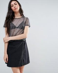 Сетчатая футболка с эффектом металлик Twiin - Черный Twin