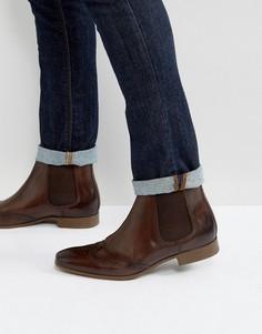 Коричневые кожаные ботинки челси с отделкой под броги ASOS - Коричневый