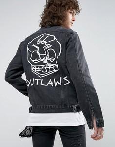 Черная джинсовая куртка с рваной отделкой и принтом на спине Roadies of 66 - Черный