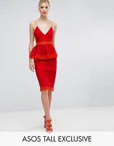 Платье миди с баской и кружевом ASOS TALL SALON - Красный