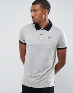 Серая футболка-поло с контрастным воротником Hollister Athleisure - Кремовый