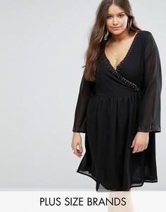 Короткое приталенное платье с отделкой бисером Koko Plus - Черный