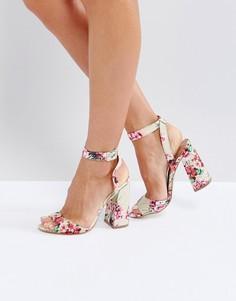 Туфли на блочном каблуке с ремешком вокруг щиколотки New Look - Розовый