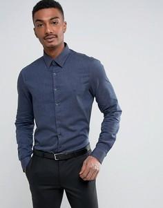 Приталенная рубашка из эластичного хлопка с начесом Calvin Klein - Синий
