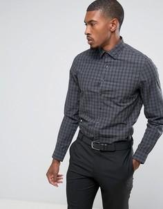 Cтрогая приталенная эластичная рубашка в клетку Calvin Klein - Серый