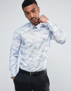 Эластичная строгая рубашка зауженного кроя с камуфляжным принтом Calvin Klein - Темно-синий
