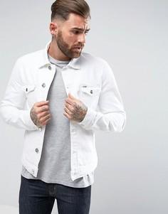 Белая рваная джинсовая куртка Wrangler The Slim Authentic - Белый
