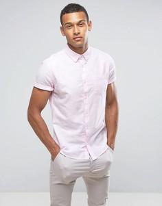 Оксфордская приталенная рубашка с короткими рукавами Burton Menswear - Розовый