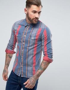 Рубашка с длинными рукавами в стиле вестерн Wrangler - Синий