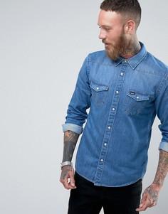 Рубашка с длинными рукавами в стиле вестерн цвета темного индиго Wrangler - Синий