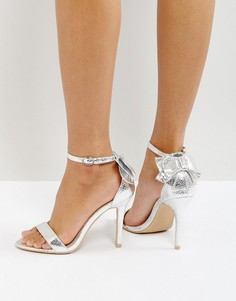 Серебристые босоножки на каблуке с бантом Glamorous - Серебряный