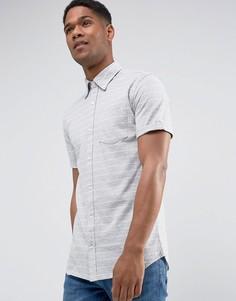 Облегающая рубашка в полоску с короткими рукавами Jack & Jones - Серый