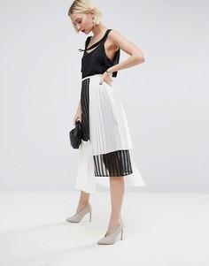 Плиссированная юбка миди в несколько слоев ASOS WHITE - Мульти
