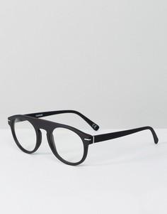 Круглые очки в черной матовой оправе с прозрачными стеклами ASOS - Черный