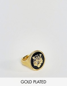 Позолоченное кольцо с гравировкой тигра ASOS - Золотой